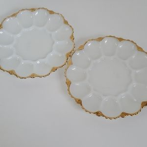 2 vintage gold rim milk glass deviled egg platers